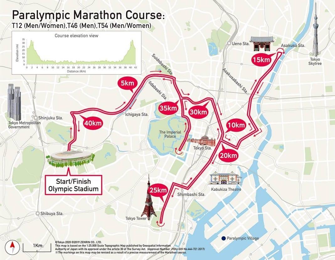 Ruta o Recorrido de las pruebas de MAratón Paralímpico en Tokio 2020